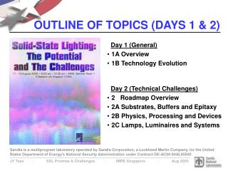 OUTLINE OF TOPICS (DAYS 1 & 2)