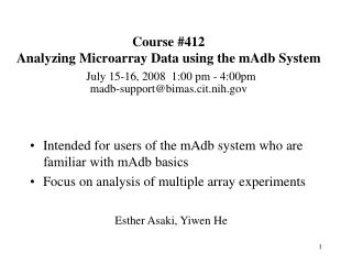 Intended for users of the mAdb system who are familiar with mAdb basics