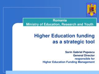 Rom a nia Minist ry of Education, Research and Youth