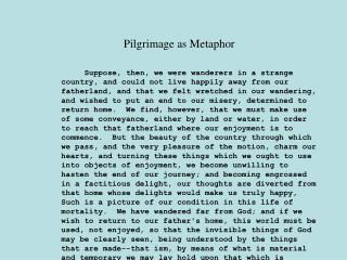 Pilgrimage as Metaphor