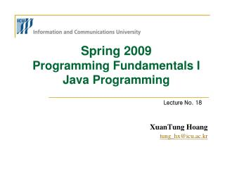 Spring 2009  Programming Fundamentals I Java Programming