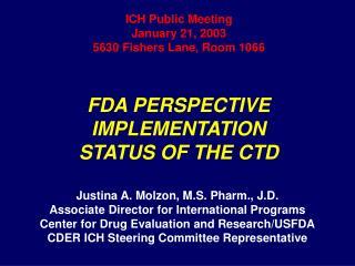 ICH Public Meeting January 21, 2003 5630 Fishers Lane, Room 1066