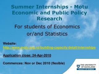 Summer Internships - Motu Economic and Public Policy Research