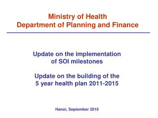 Ministry of Health Department of Planning and Finance