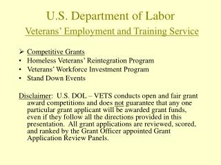 U.S. Department of Labor Veterans' Employment and Training Service