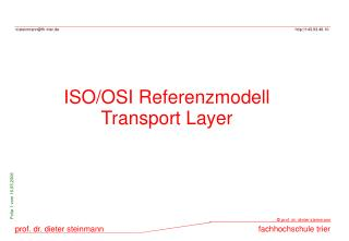ISO/OSI Referenzmodell Transport Layer