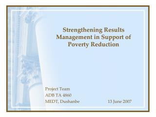 Strengthening Results Management in Support of Poverty Reduction