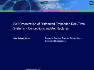 Self-Organization of Distributed Embedded Real-Time Systems – Conceptions and Architectures