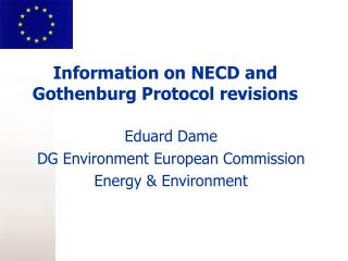 Information on NECD and Gothenburg Protocol revisions