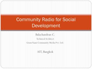 Community Radio for Social Development