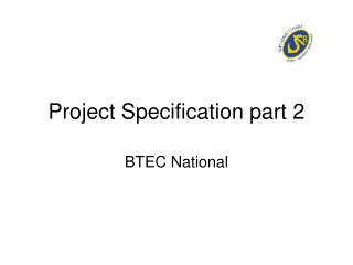 Project Specification part 2