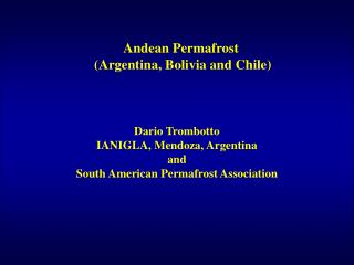 Andean Permafrost  (Argentina, Bolivia and Chile)