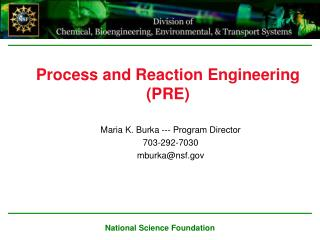 Process and Reaction Engineering (PRE)