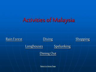 Activities of Malaysia