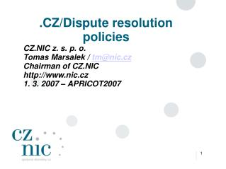 .CZ/Dispute resolution policies