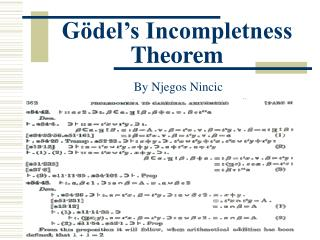 G ödel's Incompletness Theorem