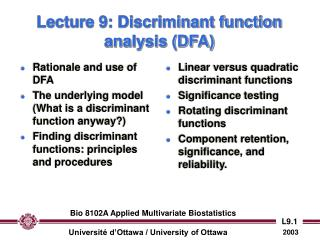 Lecture 9: Discriminant function analysis (DFA)