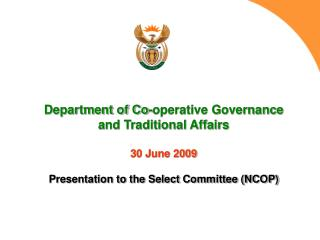 DEPARTMENT OF CO-OPERATIVE GOVERNANCE AND TRADITIONAL AFFAIRS