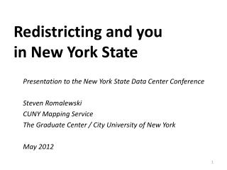 Redistricting and you in New York State