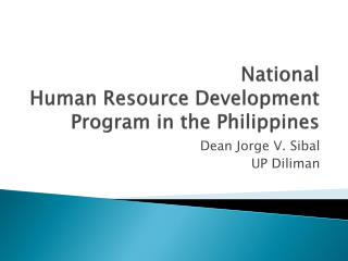 National  Human Resource Development Program in the Philippines