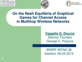On the Nash Equilibria of  Graphical Games for Channel  Access  in  Multihop  Wireless Networks