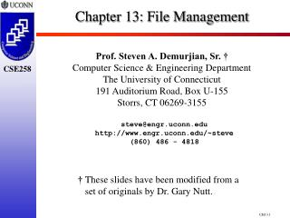 Chapter 13:  File Management