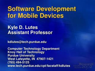 Software Development for Mobile Devices