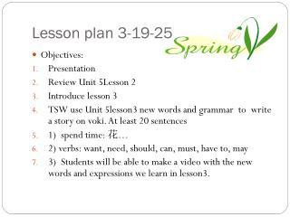 Lesson plan 3-19-25