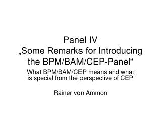 """Panel IV """"Some Remarks for Introducing the BPM/BAM/CEP-Panel"""""""