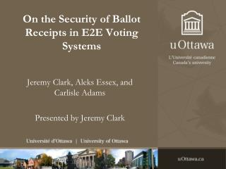 On the Security of Ballot Receipts in E2E Voting Systems