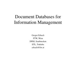 Document Databases for Information Management