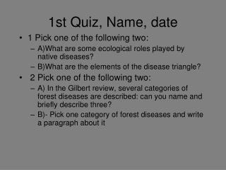 1st Quiz, Name, date