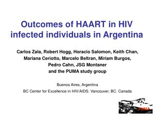 Outcomes of HAART in HIV infected individuals in Argentina