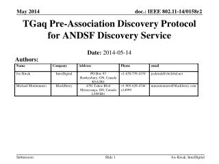 TGaq Pre-Association Discovery Protocol for ANDSF Discovery Service