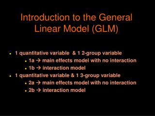 Introduction to the General Linear Model (GLM)