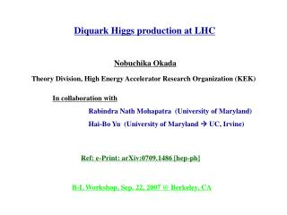 Diquark Higgs production at LHC
