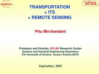 TRANSPORTATION + ITS + REMOTE SENSING