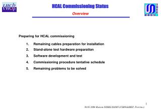 HCAL Commissioning Status Overview