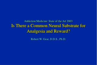 Addiction Medicine: State of the Art 2003 Is There a Common Neural Substrate for Analgesia and Reward?