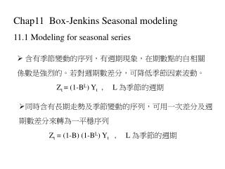 Chap11  Box-Jenkins Seasonal modeling 11.1 Modeling for seasonal series