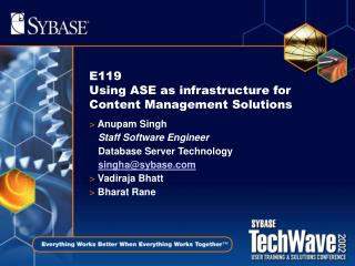 E119 Using ASE as infrastructure for Content Management Solutions