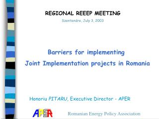Barriers for implementing  Joint Implementation projects in Romania