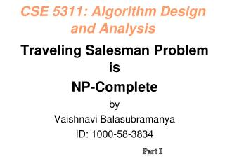 CSE 5311: Algorithm Design and Analysis