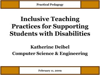 Inclusive Teaching Practices for Supporting Students with Disabilities