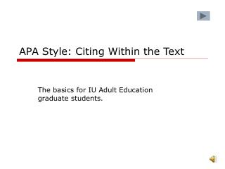 APA Style: Citing Within the Text