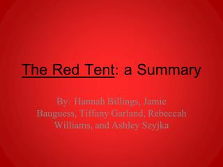 The Red Tent : a Summary