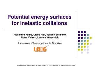 Potential energy surfaces for inelastic collisions