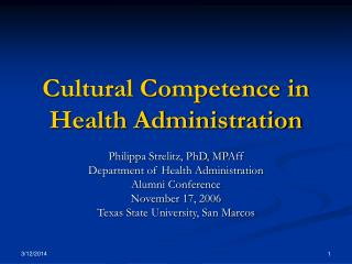 Cultural Competence in Health Administration