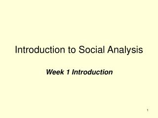 Introduction to Social Analysis