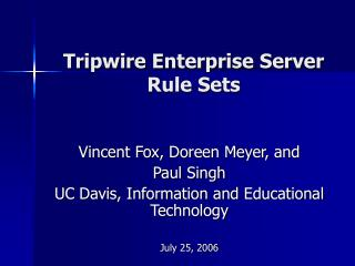 Tripwire Enterprise Server   Rule Sets